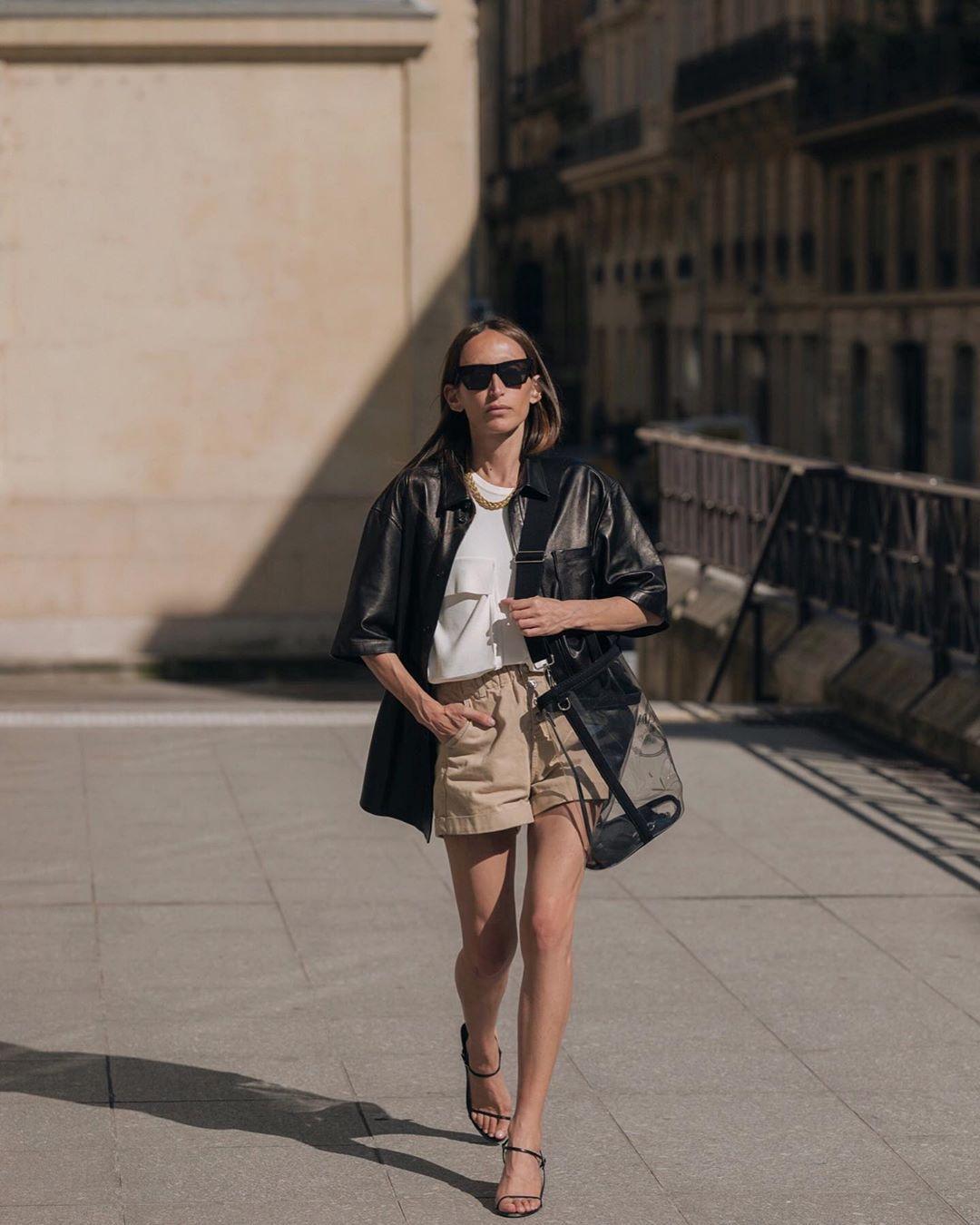 shorts High waisted shorts chloe white blouse black leather jacket short sleeve sandal heels bag