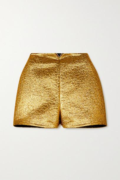 VALENTINO - Embellished Lamé Shorts - Gold