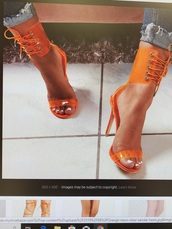 shoes,lace up heels,heels,orange,heel