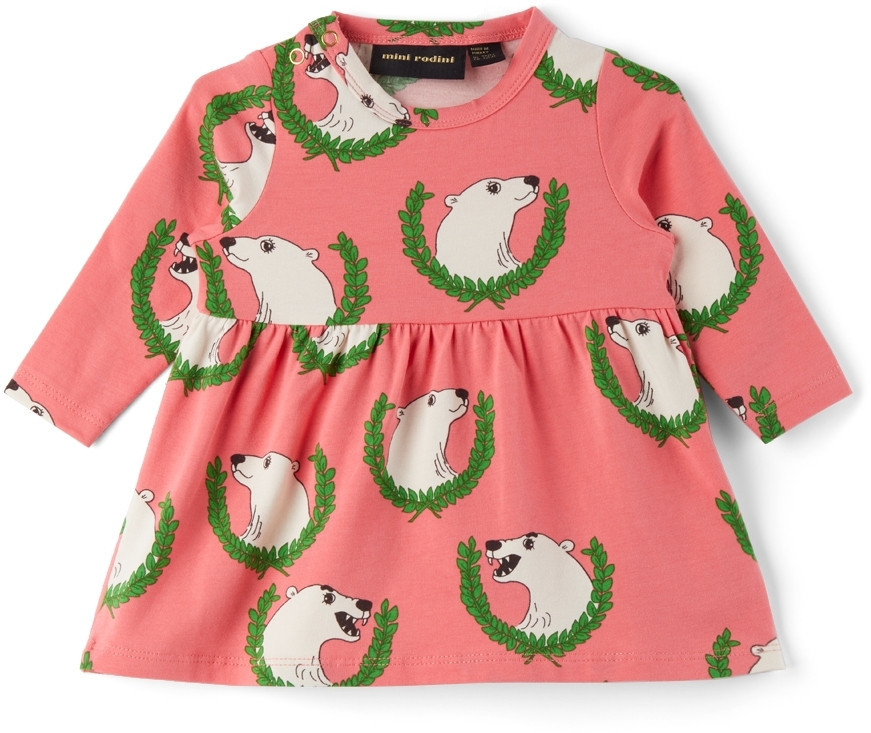 Mini Rodini Baby Polar Bear Long Sleeve Dress in pink