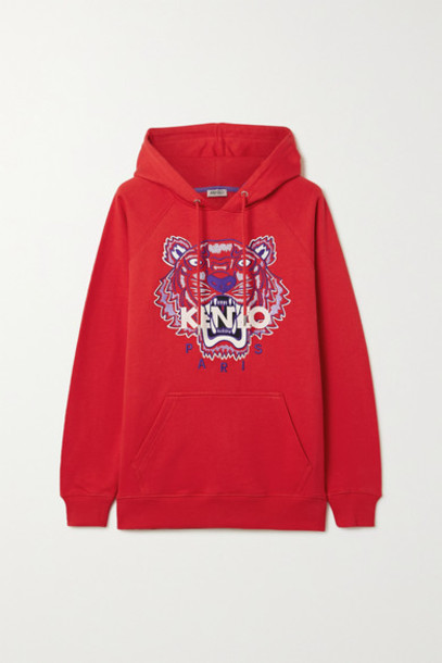 KENZO - Embroidered Cotton-jersey Hoodie in red
