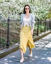 skirt,midi skirt,slit skirt,high waisted skirt,slide shoes,gucci belt,blazer,stripes,white top,wrap skirt