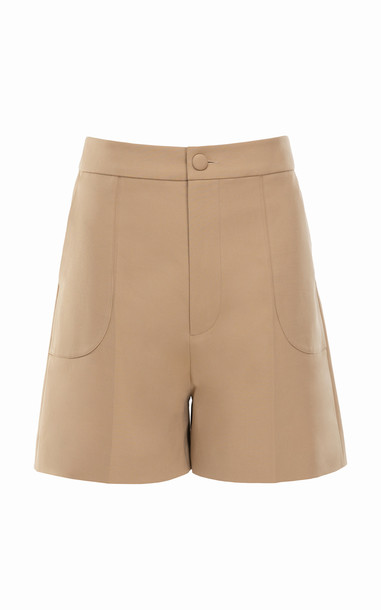 Huishan Zhang Belle Cotton-Silk Shorts in neutral