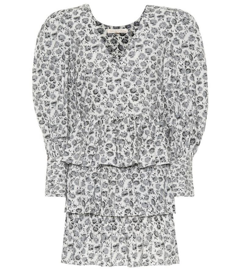 LoveShackFancy Paris floral cotton minidress in grey