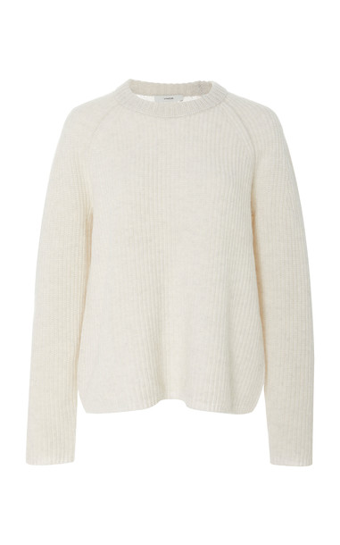 Vince Shaker Ribbed-Knit Cashmere Sweater Size: XL in white