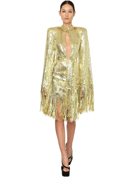 BALMAIN Sequined Mini Dress W/ Fringes in gold