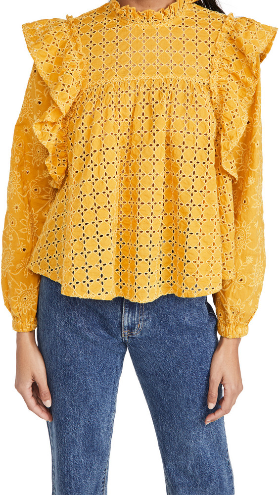 Scotch & Soda Cotton Broderie Anglaise Top in yellow