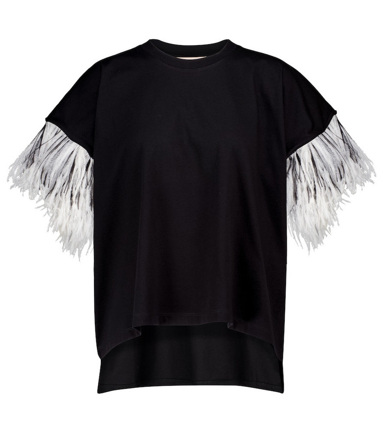 Christopher Kane Feather-trimmed cotton T-shirt in black