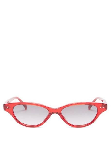 Linda Farrow - Cat Eye Acetate Sunglasses - Womens - Red