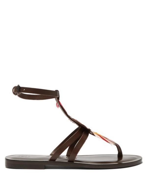 Álvaro Álvaro - Ariana Feather T Bar Leather Sandals - Womens - Brown Multi