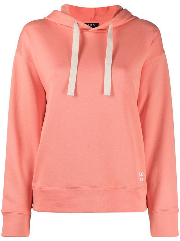 A.P.C. logo-print drawstring hoodie in orange