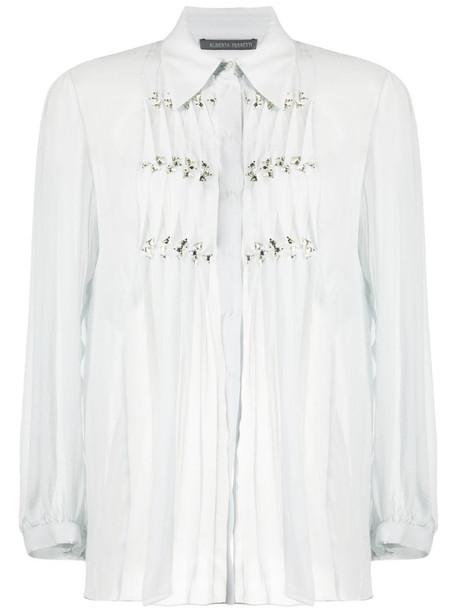 Alberta Ferretti sheer ruffled shirt in grey