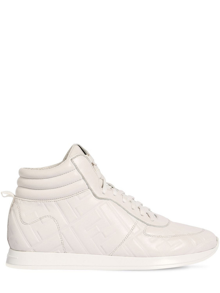FENDI 20mm Leather High Top Sneakers in white