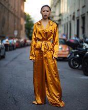 jumpsuit,long sleeves,silk,streetwear