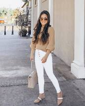 jeans,white jeans,skinny jeans,cropped jeans,high waisted jeans,mules,shoulder bag,turtleneck sweater,puffed sleeves