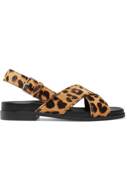 Prada - Leopard-print Calf Hair Slingback Sandals - Leopard print