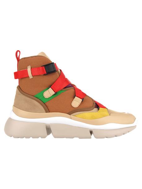 Chloé Chloe High Top Sneakers in red / beige