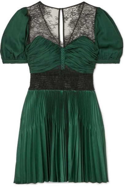 Self-Portrait - Lace-paneled Pleated Crepe Mini Dress - Forest green