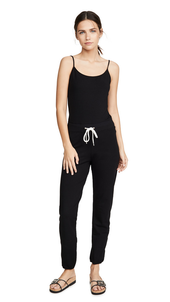 MONROW Strappy Tank Jumpsuit in black