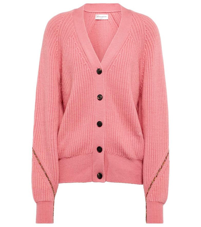 Victoria Beckham x The Woolmark Company wool cardigan in pink