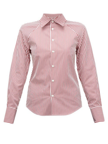 Maison Margiela - Cut Out Striped Cotton Poplin Shirt - Womens - Burgundy Multi
