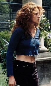 shirt,button blue crop top,julia roberts