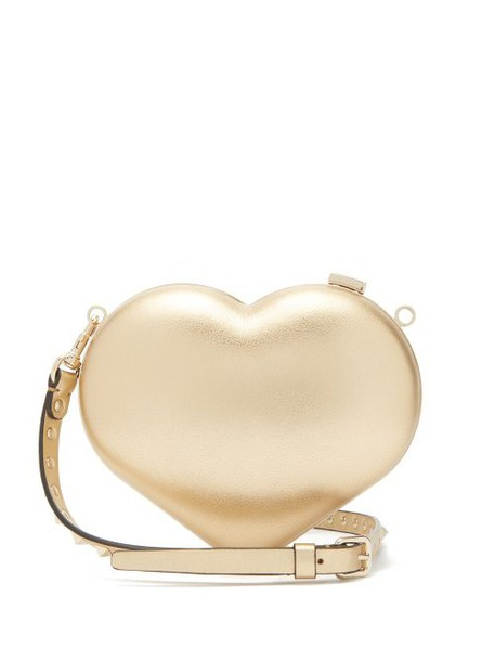 Valentino - Carry Secrets Metallic Leather Heart Clutch - Womens - Gold