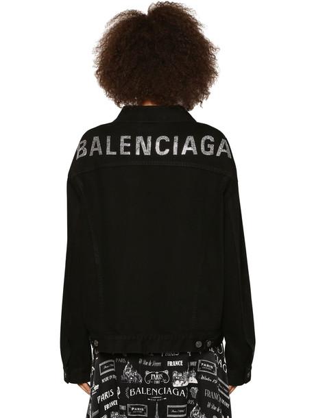 BALENCIAGA Crystal Logo Cotton Denim Jacket in black