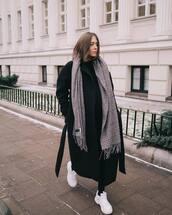 coat,black coat,wool coat,long coat,white sneakers,plaid,scarf,black pants,black sweater