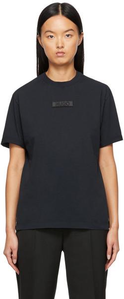 Hugo Navy Recycled Girlfriend T-Shirt in black