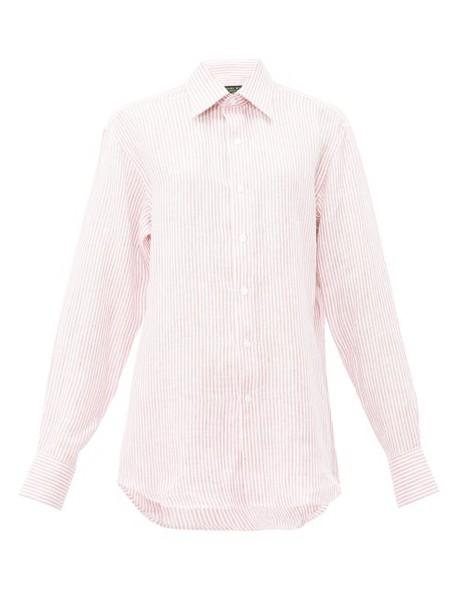 Emma Willis - Bengal Striped Linen Shirt - Womens - Pink White