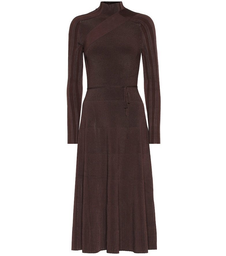 Peter Do Ribbed knit midi dress in brown