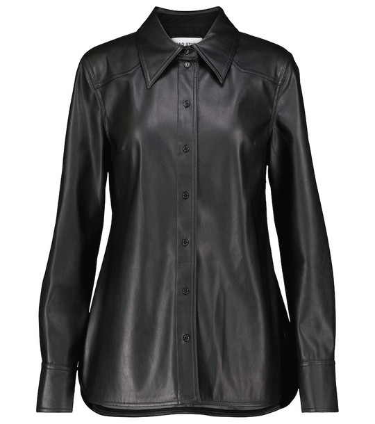 Stand Studio Juliana faux leather shirt in black