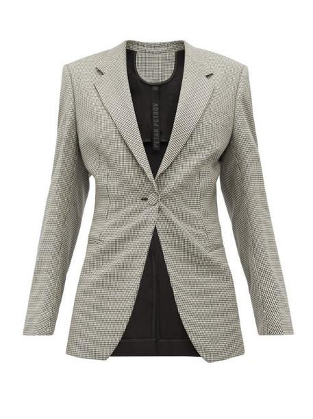 Petar Petrov - Janis Houndstooth Single Breasted Wool Blazer - Womens - Grey Multi