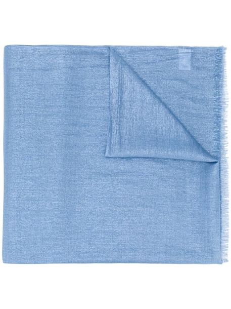 Brunello Cucinelli metallic sheen frayed scarf in blue