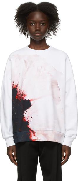 Alexander McQueen White Anemone Print Sweatshirt
