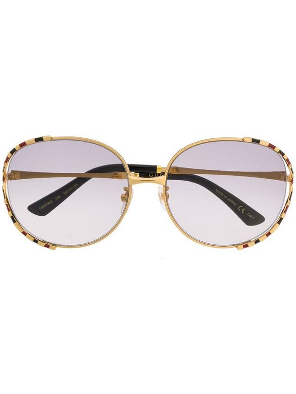 Gucci Eyewear round-frame striped sunglasses in gold