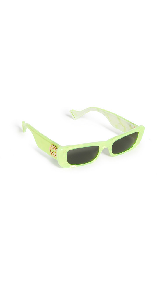 Gucci Fluo Narrow Acetate Rectangular Sunglasses in grey / yellow