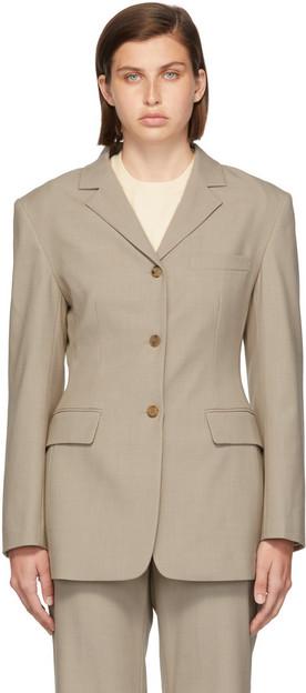 Blossom Grey Wool Eltra Three-Button Blazer in beige