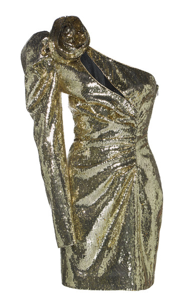 Dundas One-Shoulder Sequined Tulle Mini Dress in gold