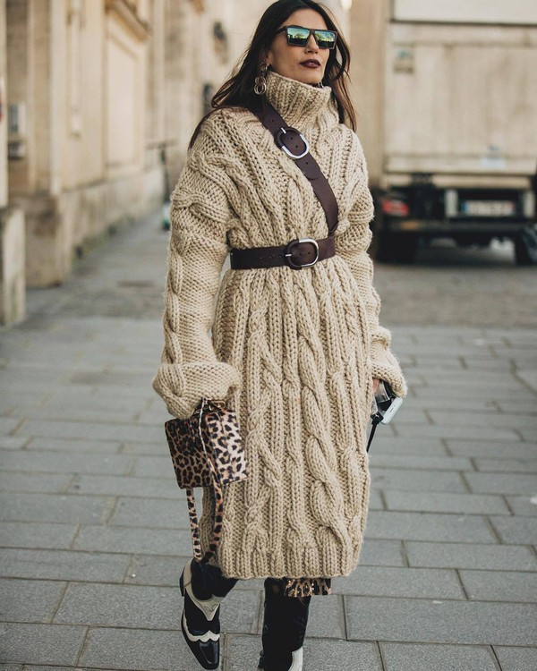 sweater turtleneck sweater dress turtleneck dress cable knit leopard print bag cowboy boots black and white boxed bag belt shoes oversized knitted dress
