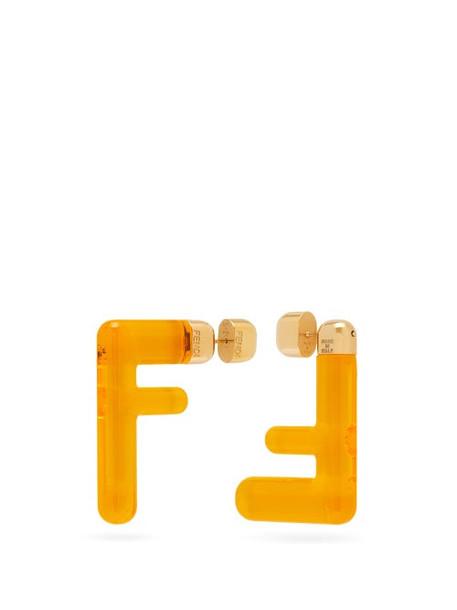 Fendi - Ff Acetate Earrings - Womens - Yellow