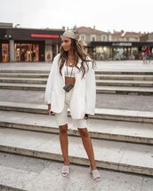 jacket,white blazer,oversized,white shorts,white sandals,white top,sports bra,bra