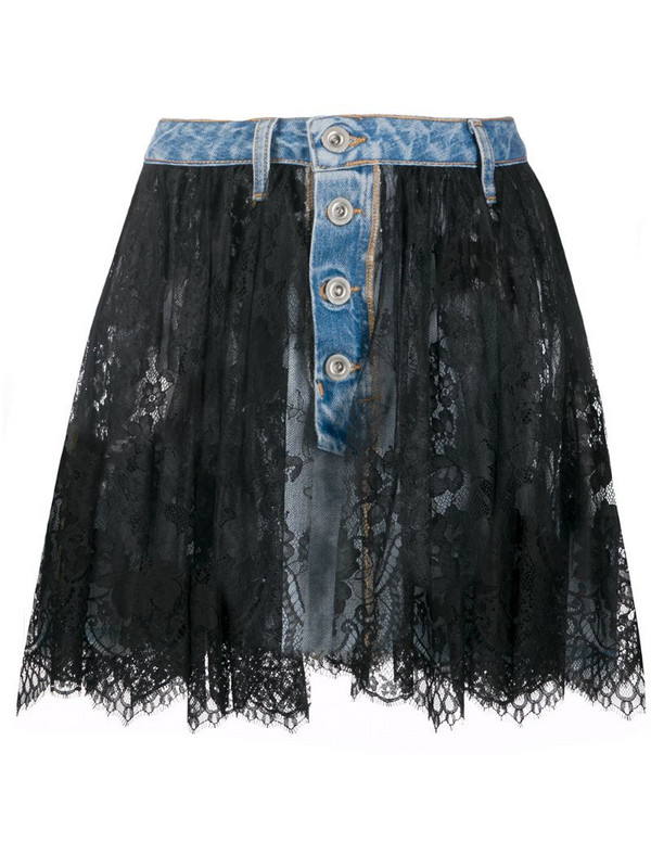 UNRAVEL PROJECT lace overlay denim skirt in blue