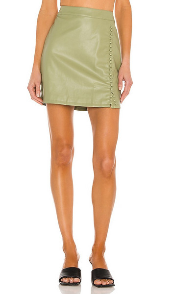 KENDALL + KYLIE KENDALL + KYLIE Vegan Leather Mini Skirt in Sage