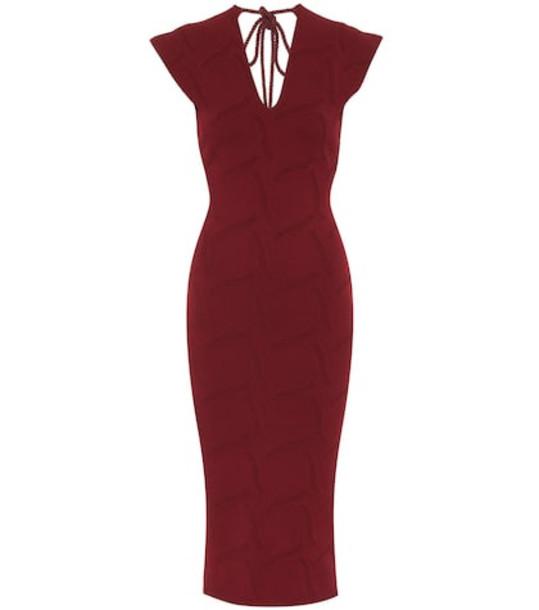 Roland Mouret Dorada crêpe knit midi dress in red