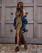 dress,silk dress,maxi dress,army green,slit dress,cowboy boots,brown boots,denim jacket,necklace,khaki,olive green,blogger style,blogger,fall outfits,slip dress,rocky barnes