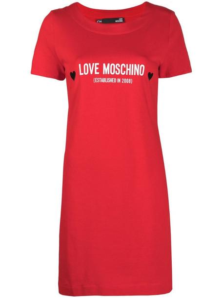 Love Moschino logo-print T-shirt dress in red