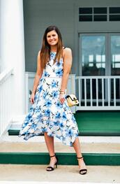to be bright,blogger,dress,shoes,bag,midi dress,floral dress,spring outfits,summer outfits,sandals