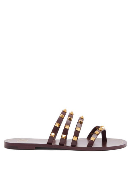 Valentino - Rockstud Flair Leather Sandals - Womens - Burgundy